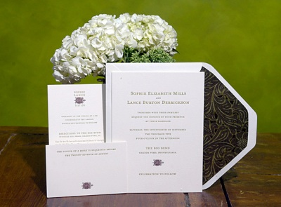 One of our invitation designs, letterpressed by friends on an antique C&P press.